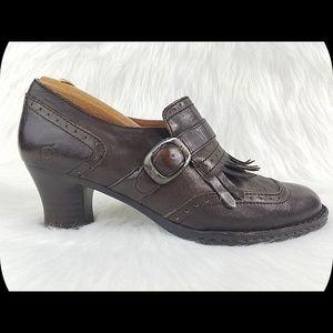 BORN Leather Monk Strap Kiltie Heeled Booties